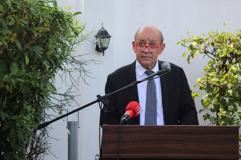 French Foreign Affairs Minister Jean-Yves Le Drian speaks at the inauguration of a French diplomatic office in Banjul on November 5, 2018. (AFP Photo)