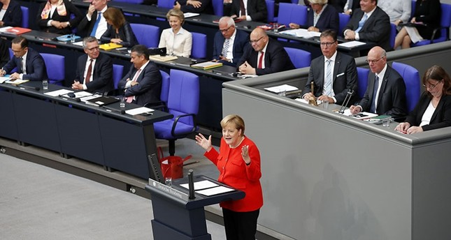 German Chancellor Angela Merkel delviers a speech during a session of the German Bundestag in Berlin, Germany, Sept. 05, 2017. (EPA Photo)