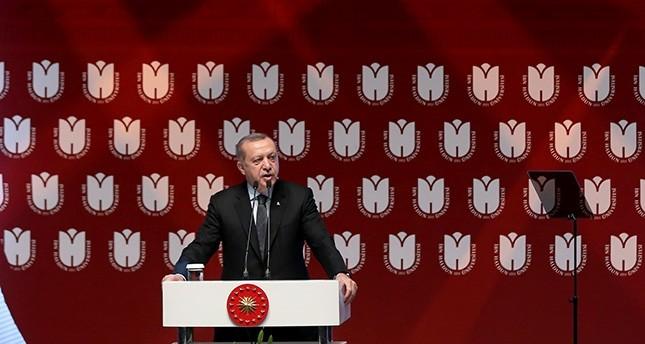 President Erdoğan speaks at the opening ceremony of Ibn Haldun University on May 20, 2017. (AA Photo)