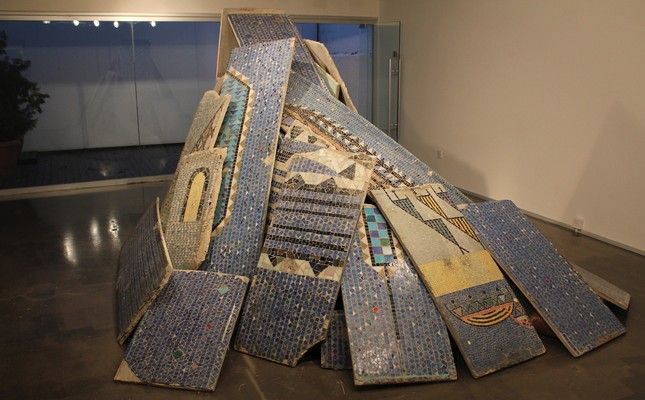 """Monument to Fragmentation"" installation of original panels and fragments from the exhibition ""Bedri Rahmi - The Lost Mosaic Wall: From Expo '58 to Cyprus,"" 2010."