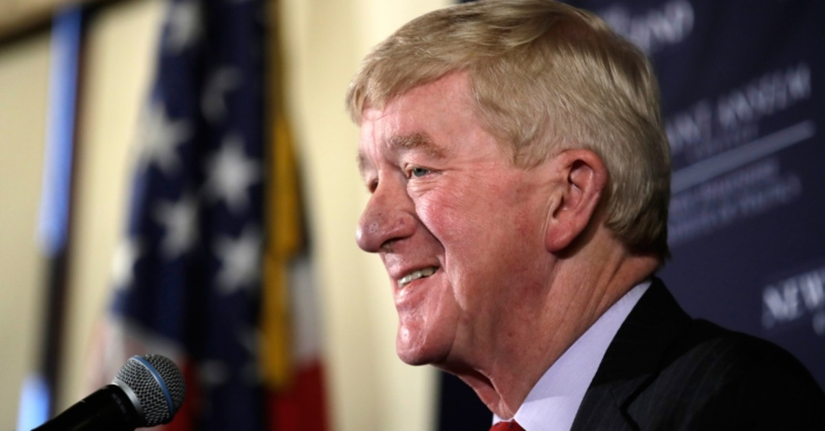 In this Friday, Feb. 15, 2019, file photo, former Massachusetts Gov. William Weld speaks during a New England Council ,Politics & Eggs, breakfast in Bedford, N.H. (AP Photo)