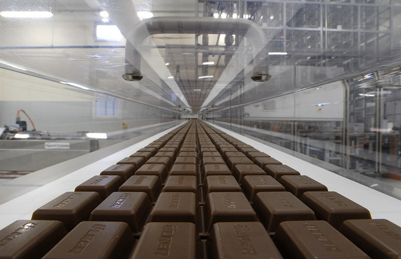 u00dclker chocolates are rolling down in one of the pladis factories' production line.