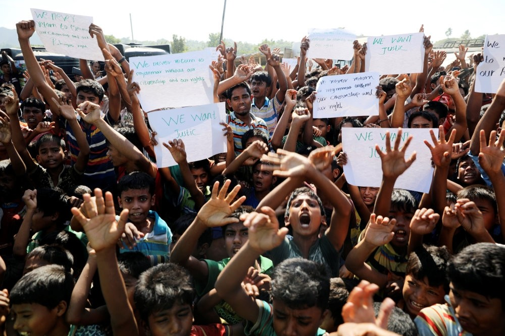Hundreds of Rohingya refugees shout slogans as they protest repatriation at the Unchiprang camp, Teknaf, Nov. 15.
