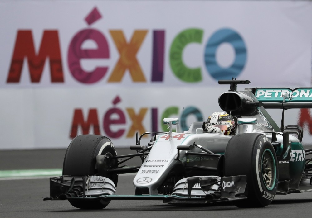 Mercedes driver Lewis Hamilton steers his car during the first practice session for the Formula One Mexico Grand Prix auto race at the Hermanos Rodriguez racetrack in Mexico City.