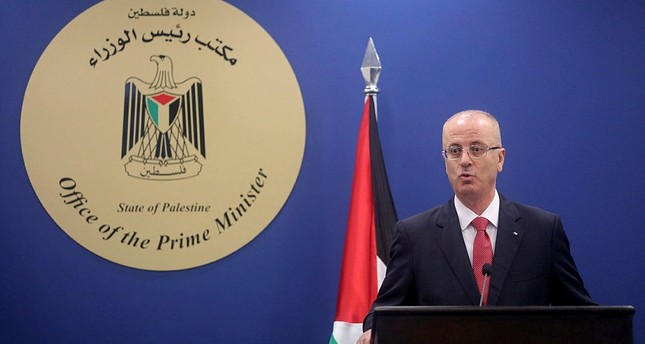 Palestinian prime minister Rami Hamdallah speaks during a press conference with U.N. chief Guterres in the West Bank, Palestine. (AA Photo)