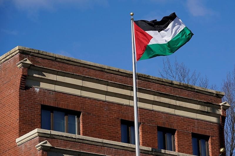 Palestinian flag waves at Palestine Liberation Organization (PLO) office in Washington, D.C., U.S., Nov. 19, 2017. (Reuters Photo)