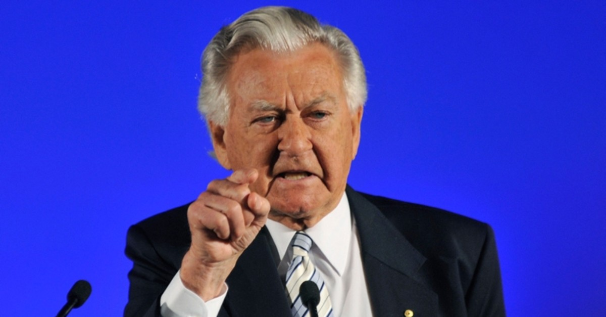 In this Aug. 16, 2010, file photo, former Prime Minister Bob Hawke speaks at the Australian Labor Party's election campaign launch in Brisbane. (Alan Porritt/Pool Photo via AP, File)