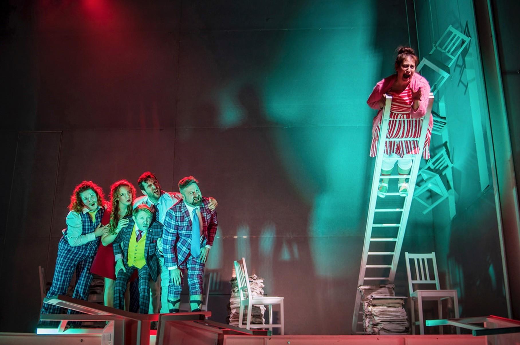 Scene from the theater play u201cRhinoceros,u201d photographed by Mihaela Bodlovic.