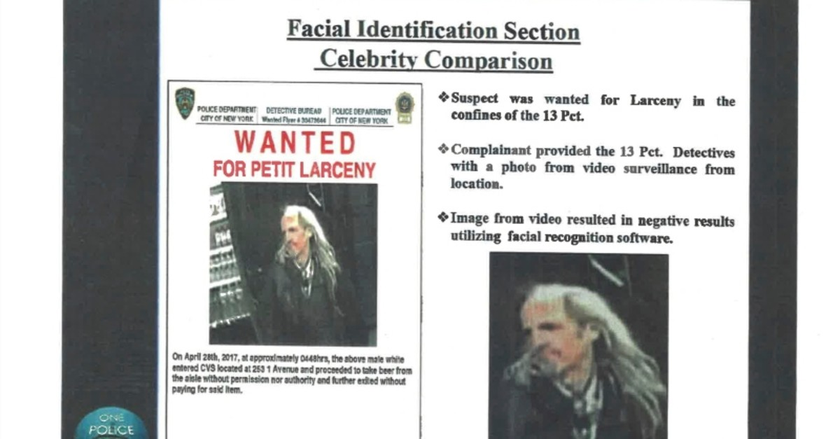 This undated image provided by Georgetown University's Center on Privacy and Technology shows presentation material with images of a wanted suspect in a New York Police Department document obtained by the university. (AP Photo)
