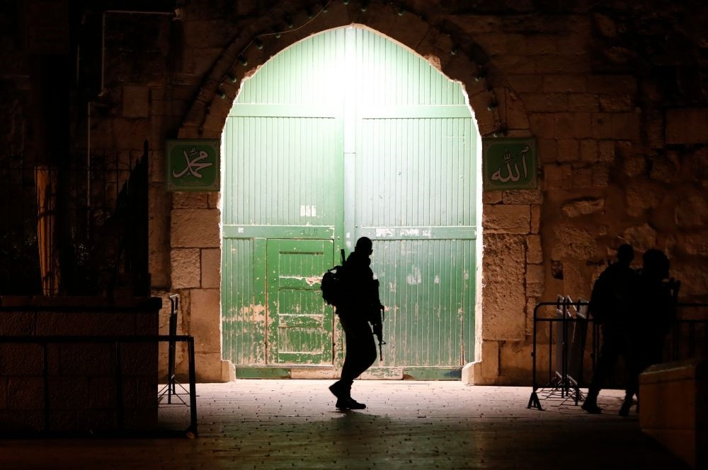 Israeli border guards patrol an entrance to the Al-Aqsa compound in Jerusalem's Old City, Feb. 19, 2019.