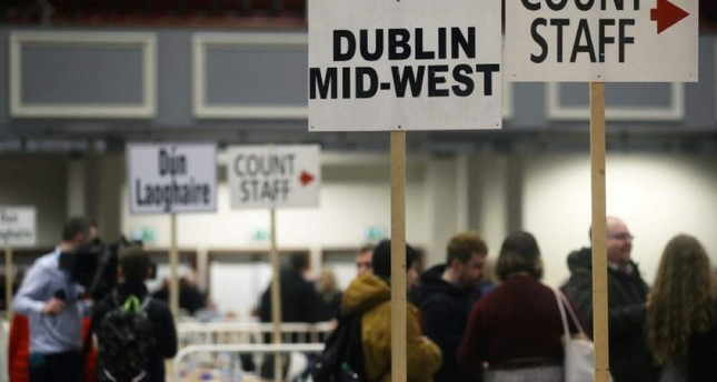 Signs direct the count staff before votes are counted in Ireland's national election, at a counting centre in Citywest, near Dublin, Ireland, February 9, 2020. REUTERS Photo