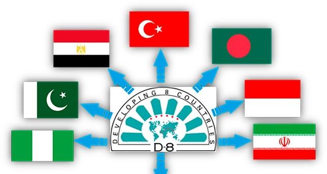تضم مجموعة الدول الثماني الإسلامية النامية تركيا وبنغلاديش ومصر وإندونيسيا وإيران وماليزيا ونيجيريا وباكستان.