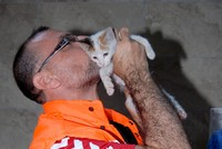 Road worker saves kitten with breath of life