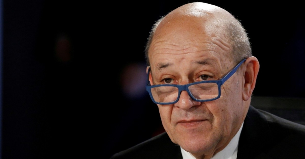 French Foreign Minister Jean-Yves Le Drian attends a working session during the Foreign ministers of G7 nations meeting in Dinard, France, April 6, 2019. (Reuters Photo)
