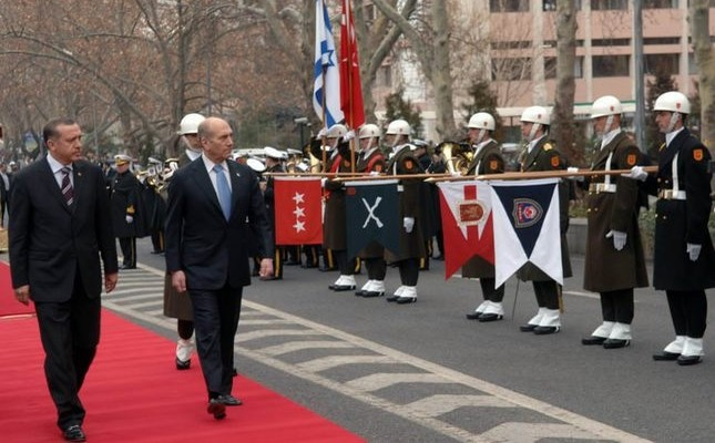 Then-Prime Minister Erdoğan with his Israeli counterpart Ehud Olmert in the welcoming ceremony during his visit to Ankara on Feb. 15, 2007.