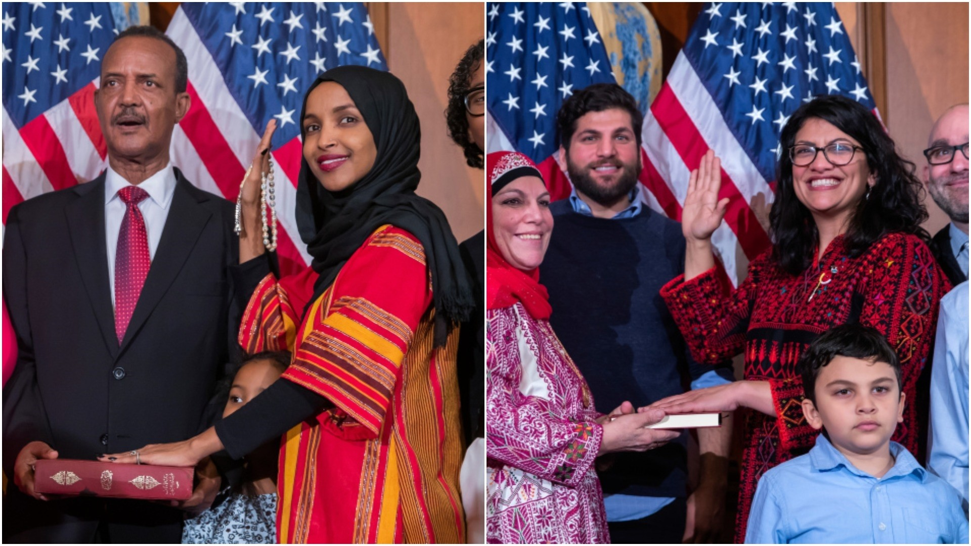 Ilhan Omar (L) and Rashida Tlaib (R) take their oaths of office. (EPA/AA Photos)