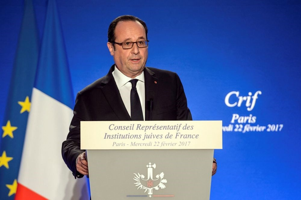 French President Franu00e7ois Hollande speaks at the annual dinner of the Representative Council of France's Jewish Associations (CRIF) in Paris, Feb. 22.