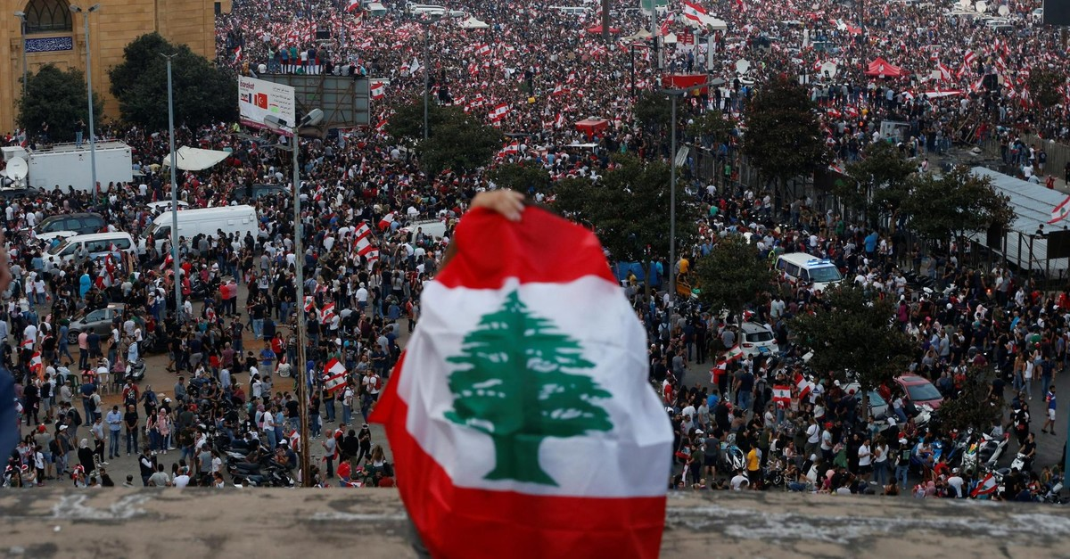 Demonstrators during an anti-government protest in downtown Beirut, Lebanon, Oct. 20, 2019.