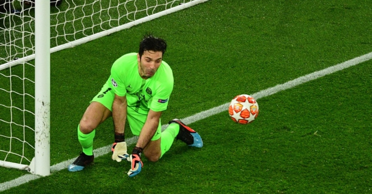This March 6, 2019, file photo shows PSG goalkeeper Gianluigi Buffon failing to catch the ball during the Champions League round of 16 second-leg match between PSG and Manchester United at the Parc des Princes stadium in Paris. (AFP Photo)