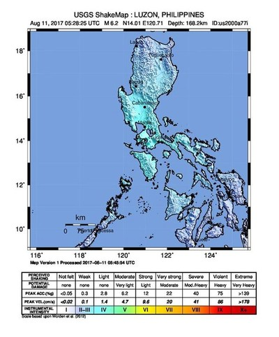 A handout shake map made available by the United States Geological Survey shows the location of a 6.2 magnitude earthquake which struck at 1:28 pm local time (5:28 UTC) at a depth of 168 km off the coast of Luzon Island, Philippines, 11 August 2017