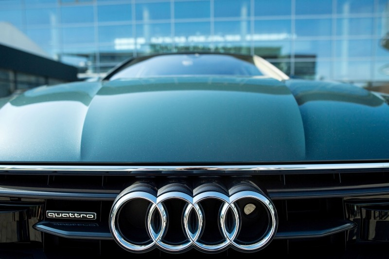 This photo taken May 9, 2018, shows an Audi Quattro car standing in front of Audi headquarters prior to the annual General Meeting of German car maker Audi AG in Ingolstadt, Bavaria, Germany. (EPA Photo)