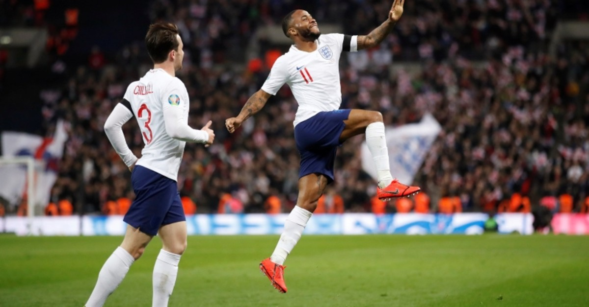 England's Raheem Sterling celebrates scoring their fourth goal and completing a hat-trick (Reuters Photo)