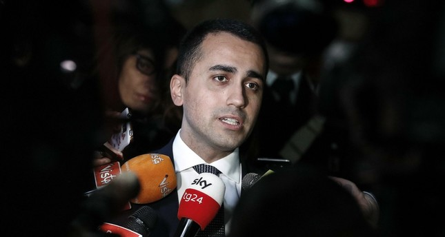 Italian Deputy Premier Luigi Di Maio speaks with journalists, Rome, Jan. 21, 2019.