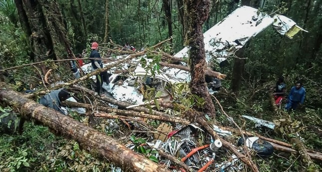 The crash site of a Swiss-made Pilatus aircraft at Menuk mountain in Oksibil. (AFP Photo)