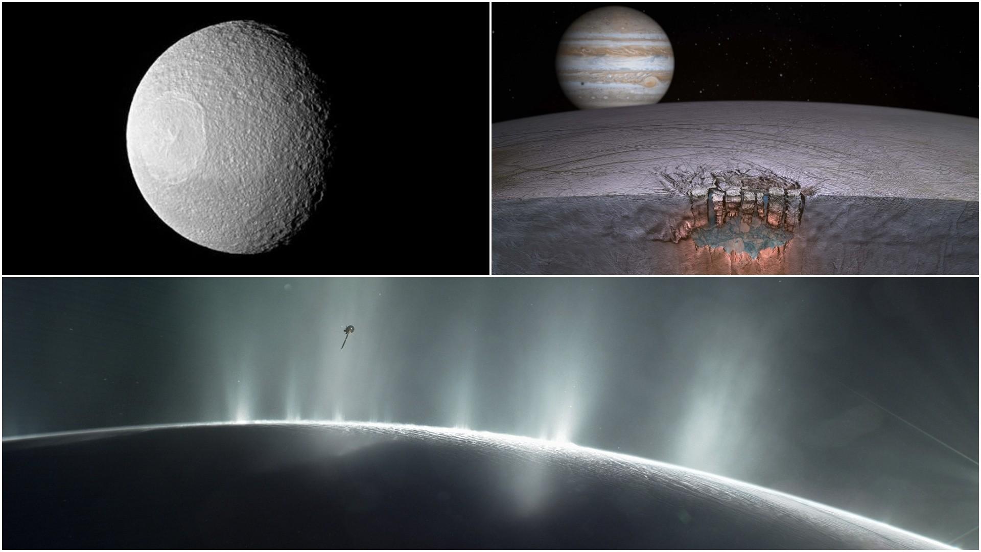 (R-L) T-L Enceladus, T-R Artist's concept of Europa's ,Great Lakeu201d, B NASA's Cassini spacecraft dives through the plume of Enceladus