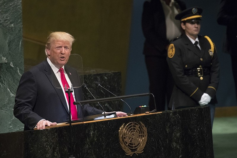 President Donald Trump addresses the 73rd session of the United Nations General Assembly, Tuesday, Sept. 25, 2018 at U.N. headquarters. (AP Photo)