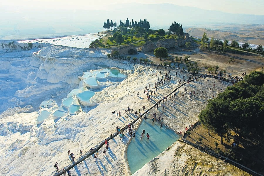 The Pamukkale Travertines in the central Aegean province of Denizli and the thermal facilities there are an important health tourism destination in Turkey.