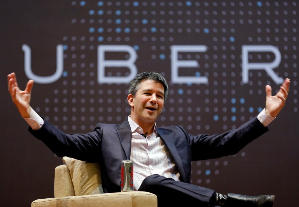 Uber CEO Travis Kalanick speaks to students during a conference at the Indian Institute of Technology (IIT) campus in Mumbai.