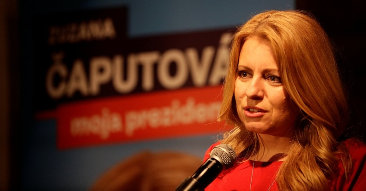 Slovakia's presidential candidate Zuzana Caputova speaks after the first unofficial results at a party election headquarters in Bratislava, Slovakia, March 16, 2019. (Reuters Photo)