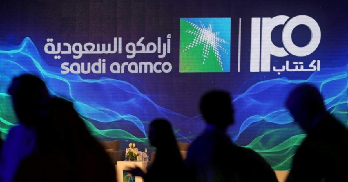 A sign of Saudi Aramco's initial public offering (IPO) is seen during a news conference of the state oil company at the Plaza Conference Center, Dhahran, Saudi Arabia, Nov. 3, 2019. (REUTERS Photo)