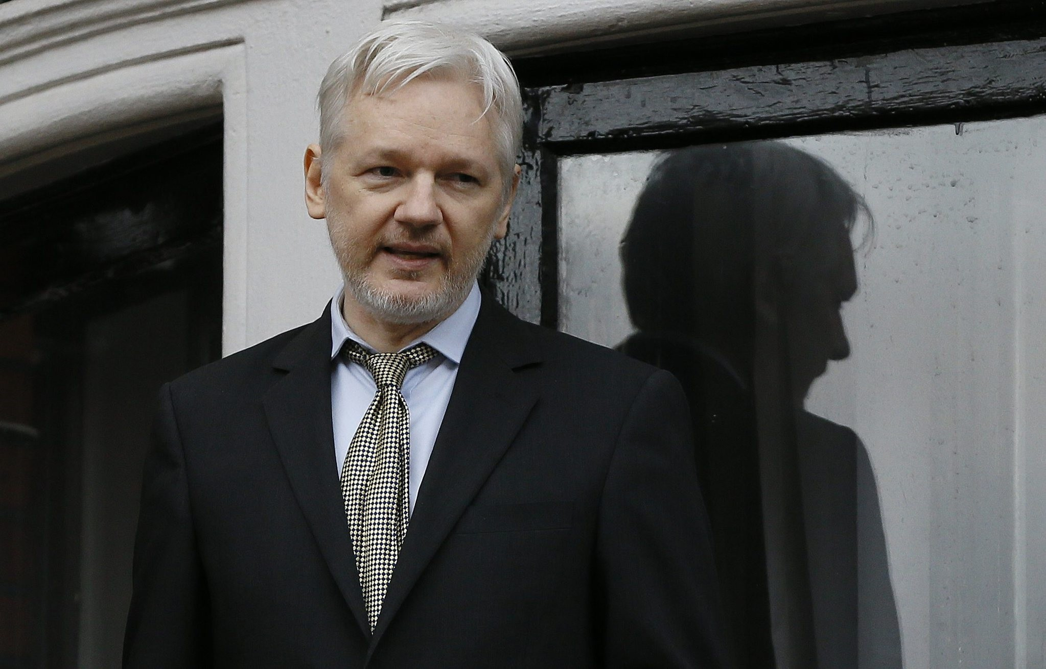 In this Feb. 5, 2016 file photo, WikiLeaks founder Julian Assange speaks from the balcony of the Ecuadorean Embassy in London. (AP Photo)