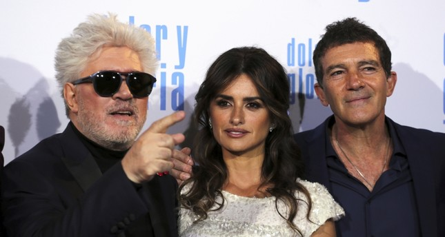 Director Pedro Almodovar and actors Penelope Cruz and Antonio Banderas pose during the premiere of their latest film Pain and Glory in Madrid, Spain, March 13, 2019.