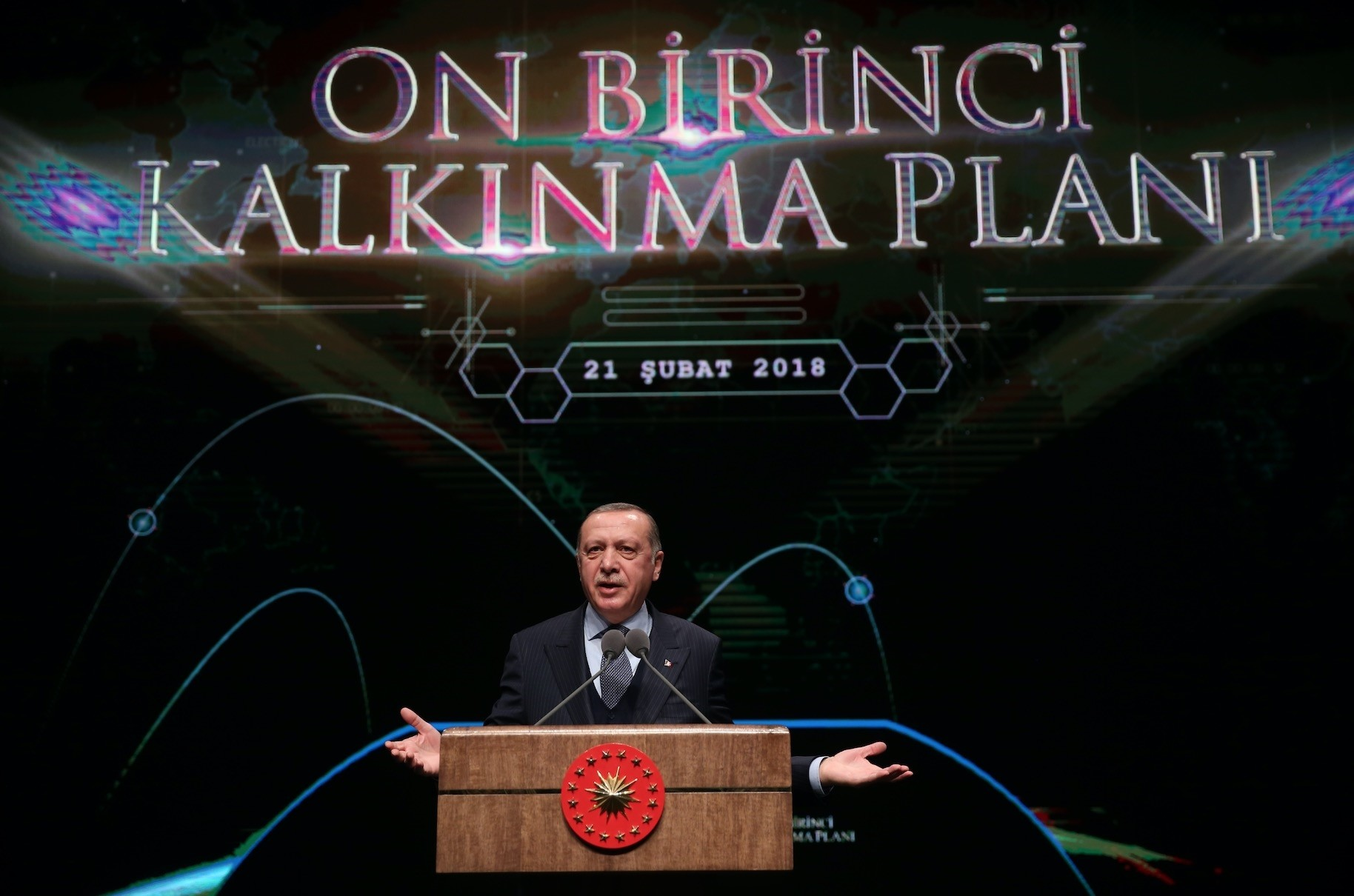President Erdou011fan speaks at the launch of the 11th Development Plan, which will start to be implemented in 2019 with a view to deliver Turkeyu2019s 2023 vision, Ankara, Feb. 21.