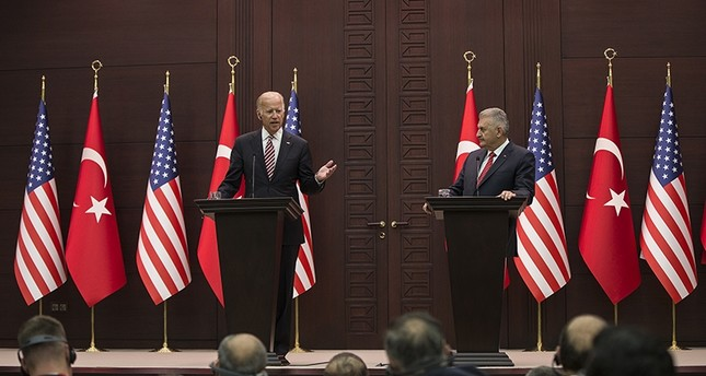 Prime Minister Binali Yıldırım (right), US Vice President Joe Biden at a joint press conference in Ankara on August 24, 2016 (AA Photo)