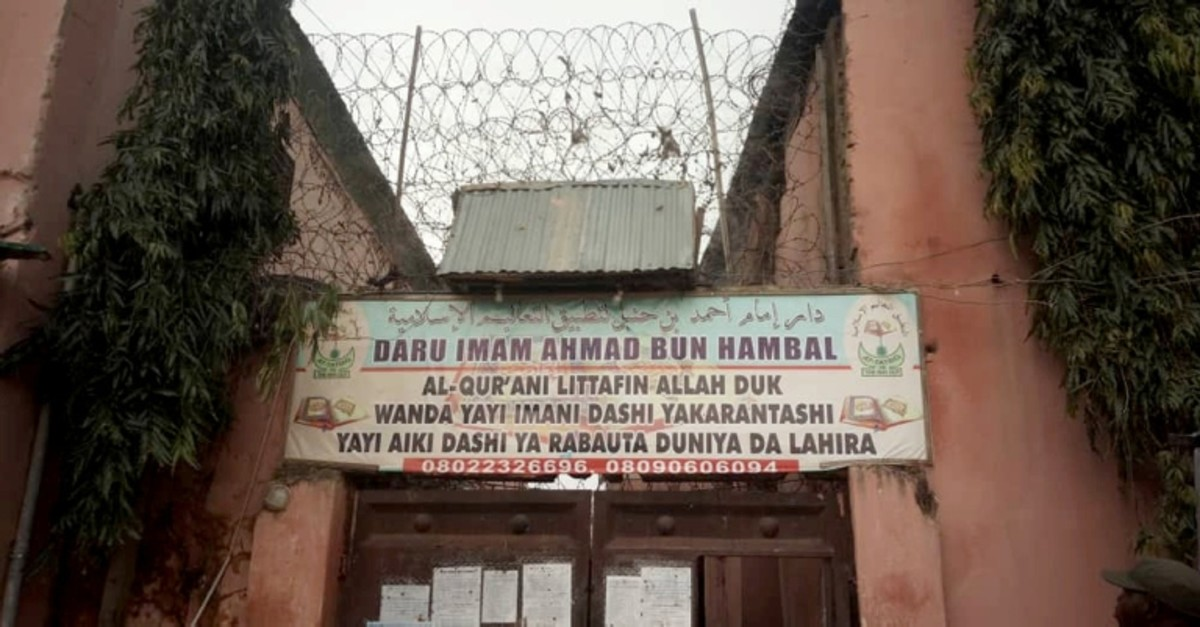 A sign is seen above a house where police rescued men and boys in Kaduna, Nigeria, September 27, 2019. The sign reads: 'Imam Ahmad Bun Hambal center for Islamic studies'. (Reuters Photo)
