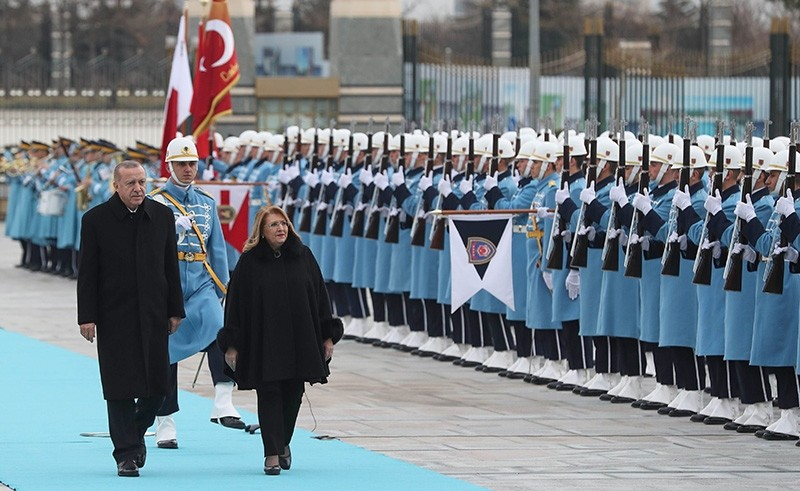 President Recep Tayyip Erdou011fan and Maltese counterpart Marie-Louise Coleiro Preca attend a welcoming ceremony with military honors at the Presidential Complex in Ankara, Jan. 24, 2019. (AFP Photo)