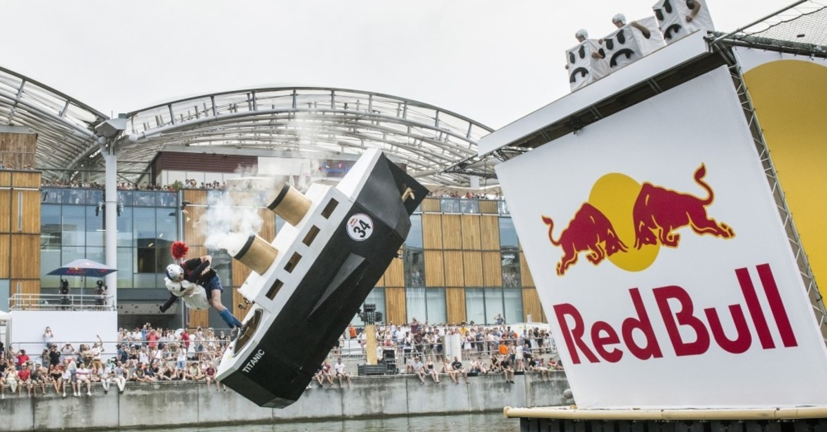Red Bull Flugtag participants try to fly away with handmade ,planes, in Lyon, France.