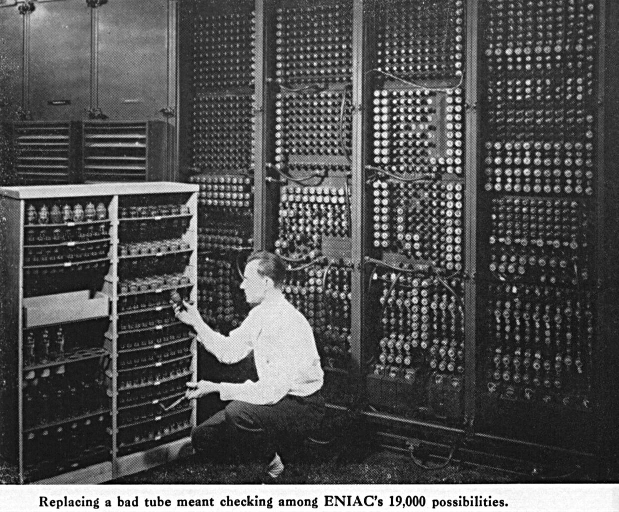 A scientist works on the Electronic Numerical Integrator and Computer (ENIAC), the first programmable, general-purpose digital computer, built during World War II by the U.S.