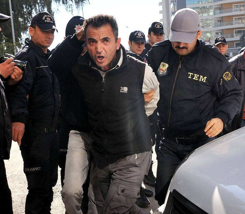 This file photo shows DHKP-C militant Ismail Akkol being brought to police headquarters for testimony following his capture, on Feb. 04, 2016.