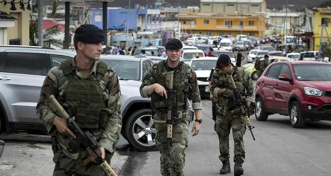 The Dutch Department of Defense on 08 September 2017 shows Dutch soldiers patrolling in Philipsburg, Sint Maarten, on 07 September 2017. EPA Photo