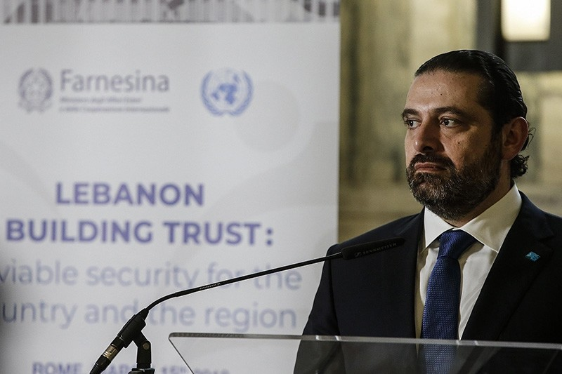 Lebanese Prime Minister Saad Hariri during a ministerial meeting entitled 'Lebanon, building trust: a viable security for the country and the region' at Farnesina, Rome, Italy, March 15, 2018. (EPA Photo)