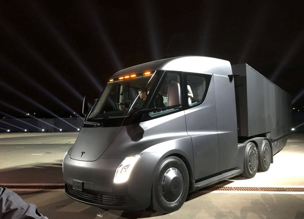Tesla's new electric semi truck is unveiled during a presentation in Hawthorne, California.