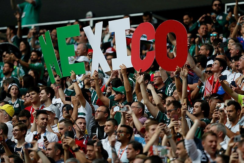 Fans hold up letters spelling out Mexico ahead of the start of the group F match between Germany and Mexico at the 2018 soccer World Cup in the Luzhniki Stadium in Moscow, Russia, Sunday, June 17, 2018. (AP Photo)