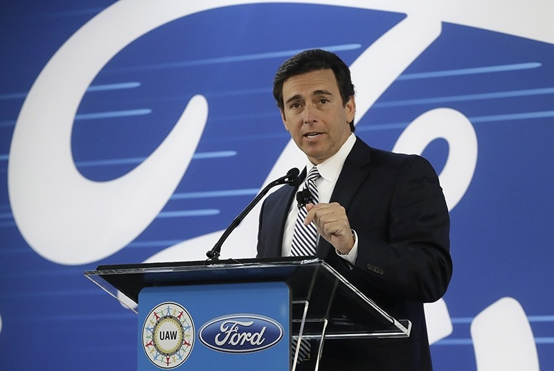 In this Jan. 3, 2017 file photo, Ford President and CEO Mark Fields addresses the Flat Rock Assembly in Flat Rock, Mich. (AP Photo)