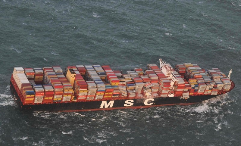 Aerial photo provided by the Central Command for Maritime Emergencies Germany shows container vessel MSC ZOE near the German North Sea island of Borkum Wednesday, Jan. 2, 2019. (AP Photo)