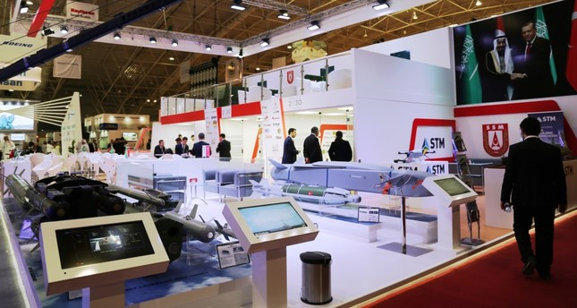 Turkish companies exhibit their products at Afed 2018, where Turkey is the guest of honor, Riyadh, Feb. 25.